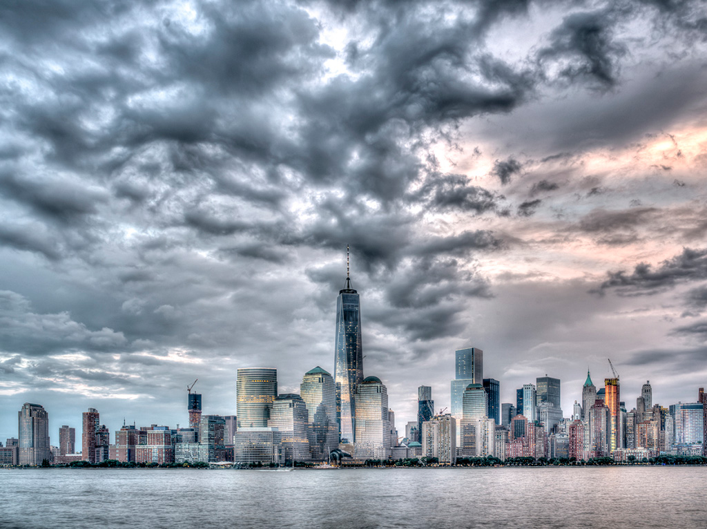 Skyline of New York City Manhattan on July 4th 2015